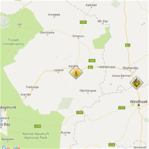 Latest map of accidents: Namibia