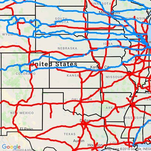 Interstate and U.S. Routes Map